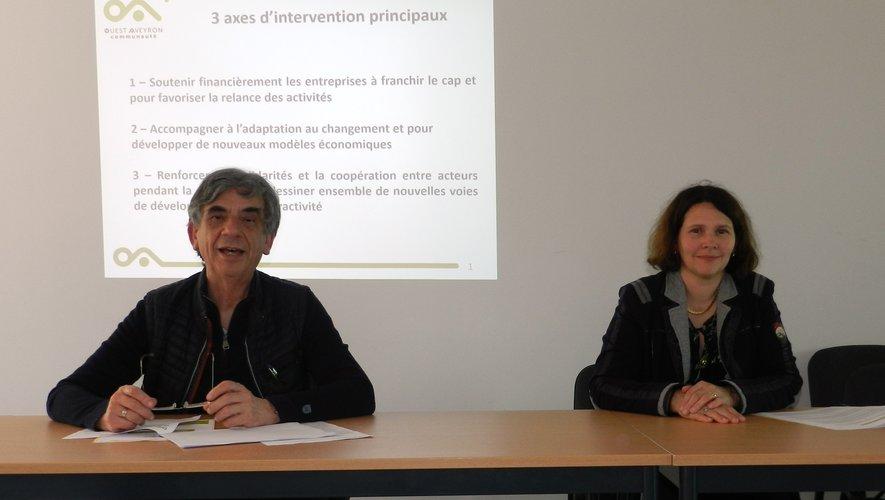 Serge Roques et Muriel Couderc ont présenté le plan de soutien à l'économie locale.
