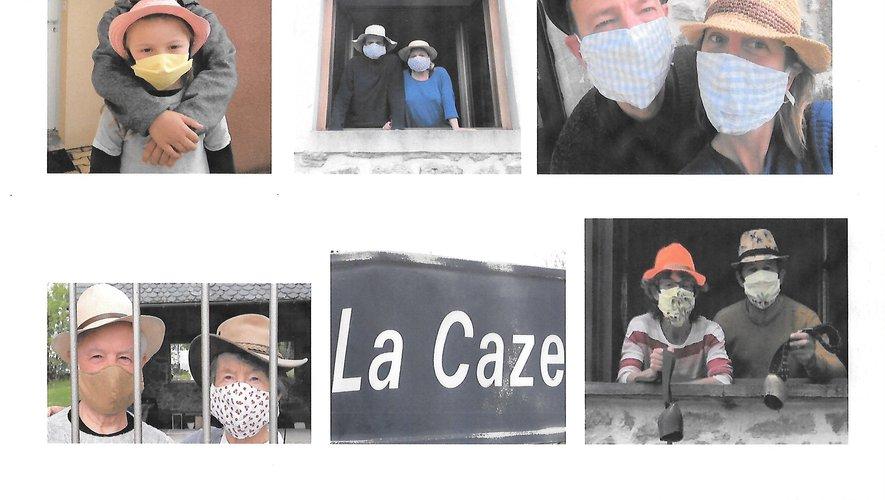 """les habitants du village de Lacaze """"masque et chapeaux""""."""