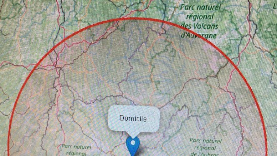 Les principales localités comprises dans le secteur de 100 km autour de Decazeville.