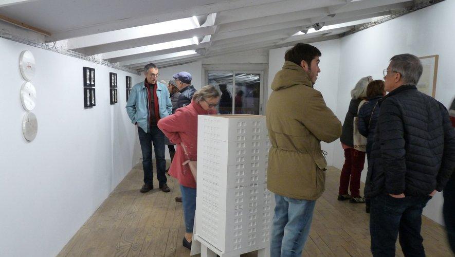 Vernissage Atelier Blanc 13 mars. Oeuvre de Laure Tixier au premier plan. FEG