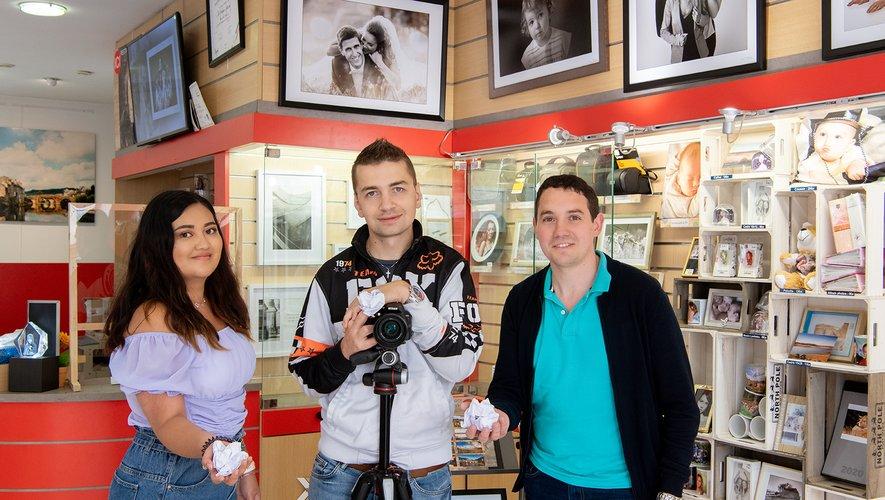 Chloé, Romain et Florent, trois jeunes commerçants à l'initiative des vidéos.