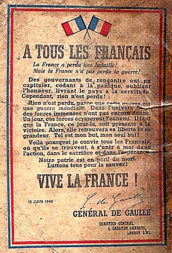 La reproduction de l'appel du 18 juin, lancé par le général de Gaulle depuis Londres.