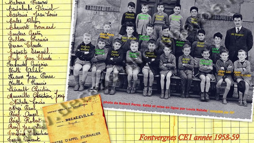 La classe de CE1 1958-59 avec Robert Boscus. Collection Decazeville-Photos.fr