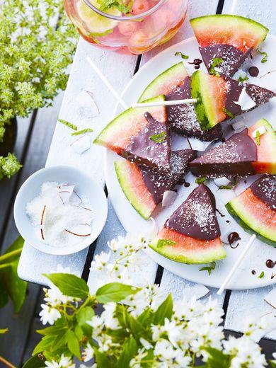 Sucettes de pastèque au chocolat
