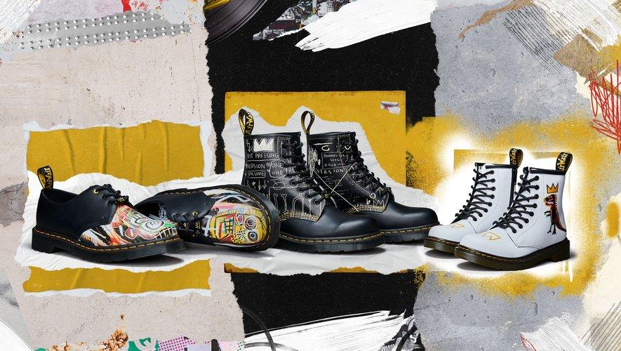 Dr. Martens rend hommage à Jean-Michel Basquiat avec une collection de chaussures à l'effigie de certaines de ses oeuvres.