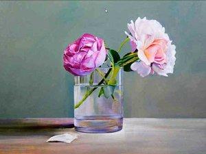 Nature morte de Pierre-Marie Corbel : Les roses c'est la vie.