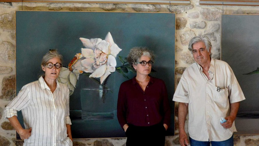 L'artiste Pierre-Marie Corbel, avec L.Mollaret et A. Guthuix de l'association Cinécure
