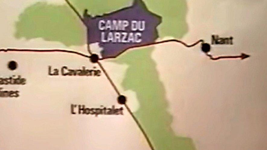 Sur ce document, on visualise l'enjeu de l'extension du camp du Larzac qui si elle ne concernait qu'une poignée d'agriculteurs a mobilisé tous ceux du plateau, de La Couvertoirade à Millau et de Nant à La Bastide-Pradines.