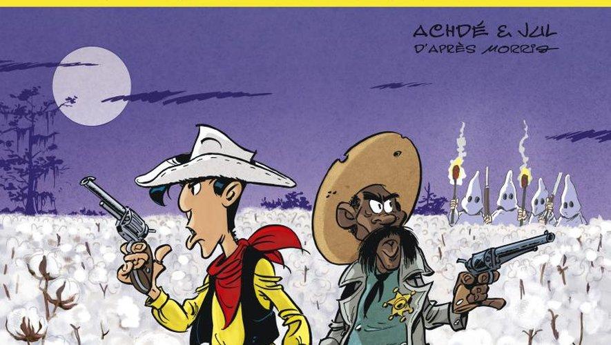 """Jul et Achdé entrent directement à la première place des ventes de livres avec """"Les Aventures de Lucky Luke d'apres Morris T.9; Un cow-boy dans le coton""""."""