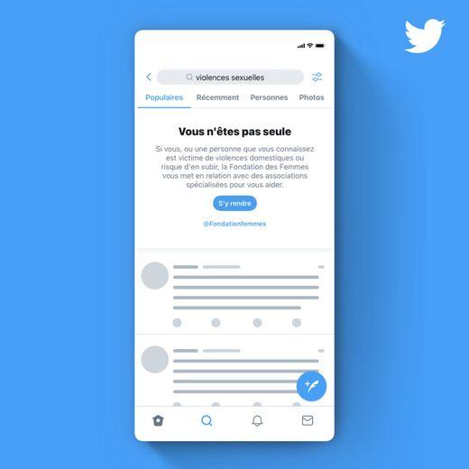 Twitter affichera cet encart pour venir en aide aux internautes au-delà de la Journée internationale de lutte contre les violences faites aux femmes.