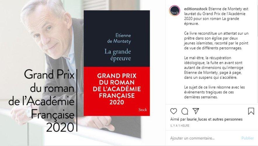 """Etienne de Montety a remporté jeudi le Grand Prix du roman de l'Académie française, avec """"La Grande Epreuve""""."""