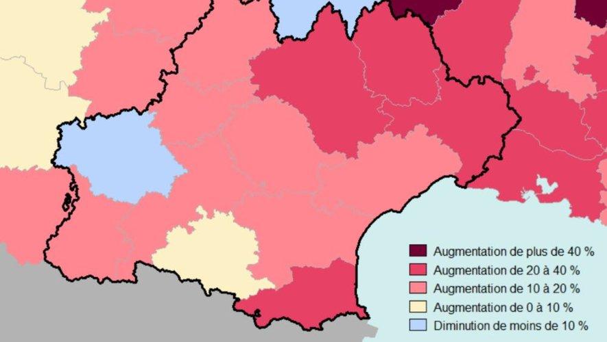En Occitanie pour la période observée, cette surmortalité est de l'ordre de 16% en moyenne, avec+26,1 % en Aveyron et +30,4% en Lozère.