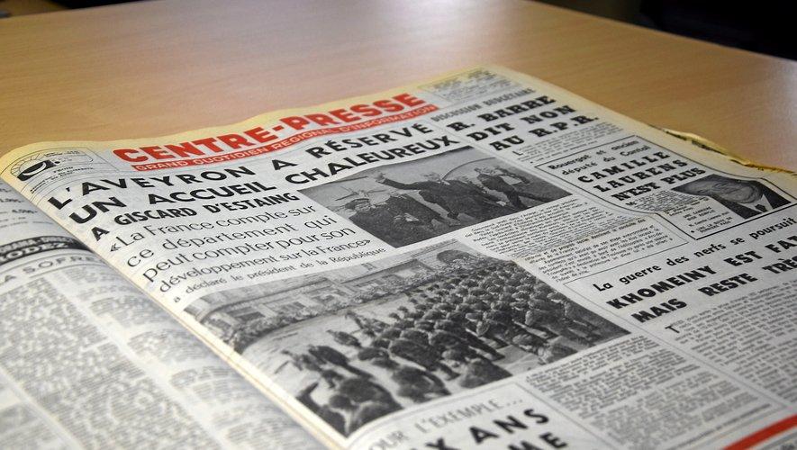 Valéry Giscard d'Estaing était venu en Aveyron le 16 novembre 1979, ci-dessus la Une de notre titre à l'époque.
