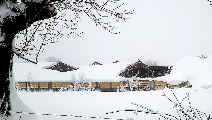 Le pan d'un bâtiment agricole s'est effondré sous le poids de la neige, ici à Argences-en-Aubrac.
