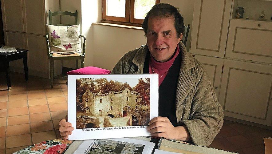 Jean-Pierre Azéma et les prémices de la restauration de son moulin, près de Sévérac-le-Château.C.C.