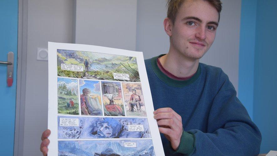 Pierre présente l'unedes planches de sa bande dessinée primée par la Région.