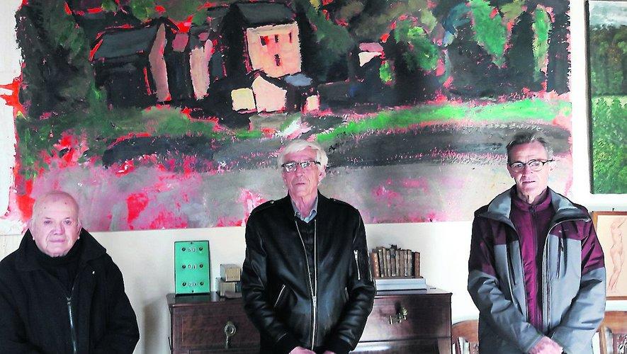 Paul Bousquet, Alain Queste et Serge Maurel (de gauche à droite), devant le tableau légué à la commune./Photo GL