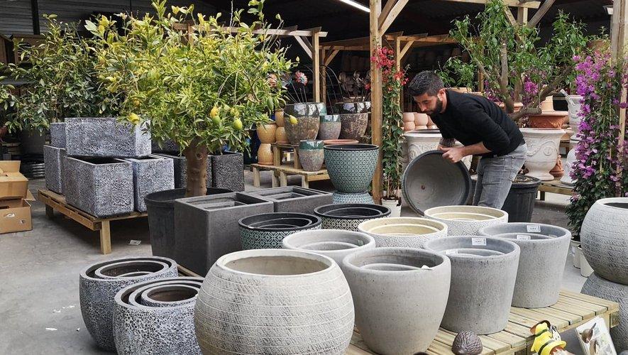 Le magasin renferme de nombreux pots et poteries.
