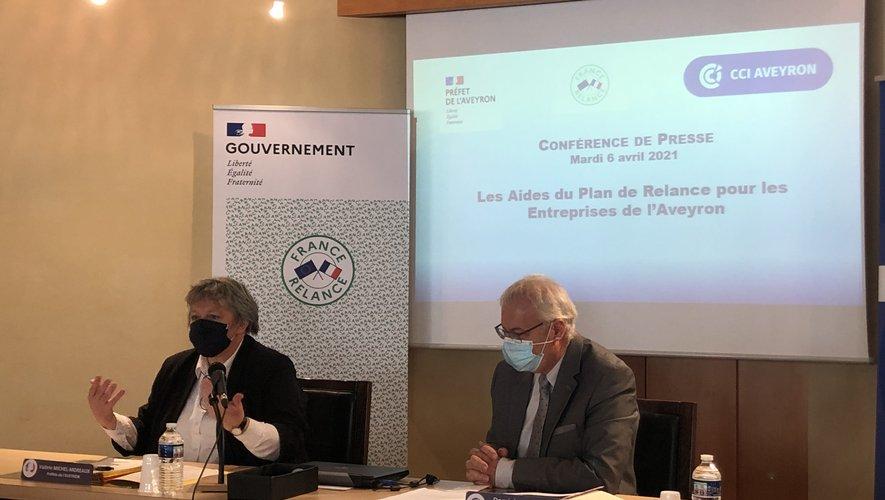 La préfète, Valérie Michel-Moreau et le présidentde la CCI, Dominique Costes.