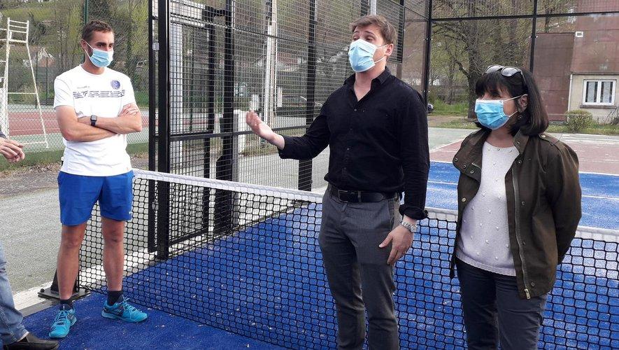 Le coach Johan Brun avec Ramiro Rocca et Christine Decock  ravis de proposer une nouvelle activité sportive sur Decazeville.