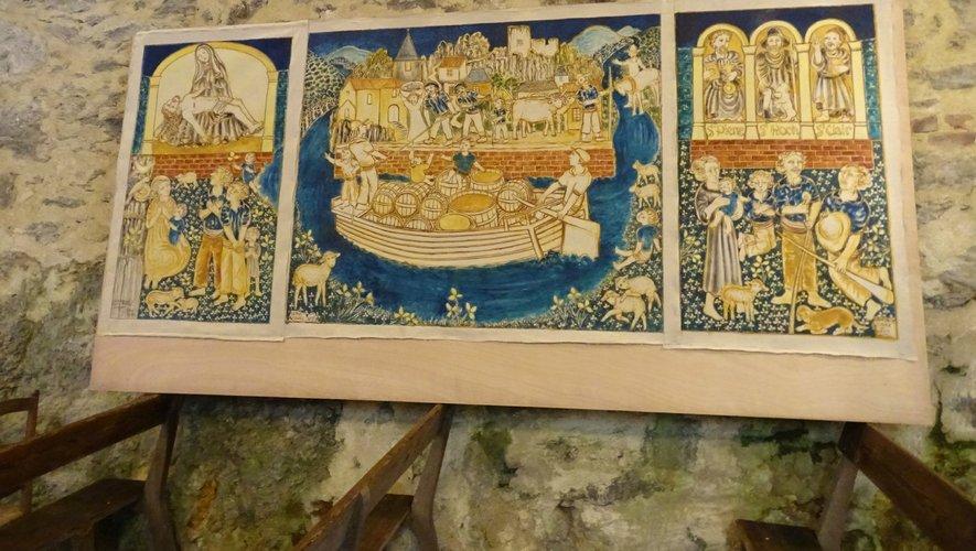 L'œuvre d'Hervé Vernhes, en l'église à Laroque-Bouillac, représentant des hommes déchargeant une gabarre.