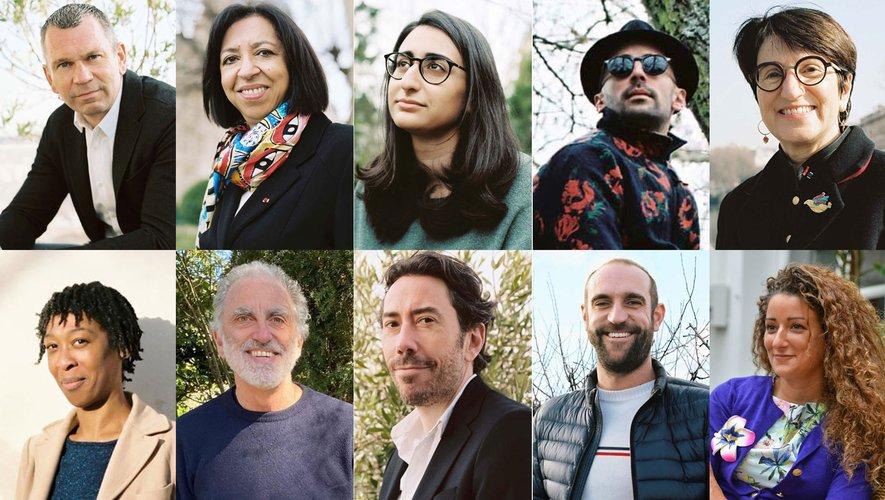 De gauche à droite, de haut en bas : Thierry Cotillard, Maryline Gigax, Léa Moukanas, JR, Dominique Versini, Tania De Montaigne, Marc(o) Berrebi, Julien Neutres, Edouard Bergeon, Alice Zagury.