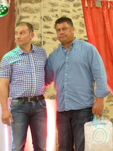 Mark Faumuina (à droite), aux côtés de Nicolas Alquier, l'un des coprésidents de Villefranche XIII, en 2013.