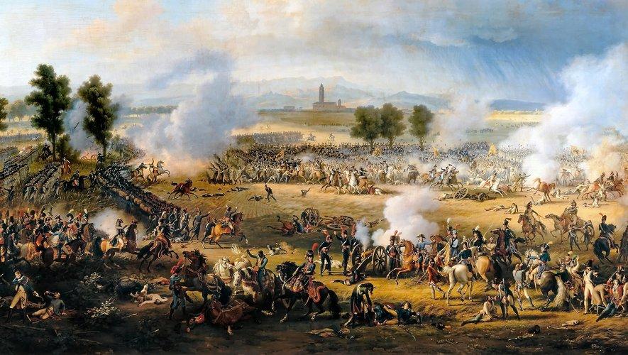 Au centre du tableau de Lejeune, les dragons ramenant le chef Zach à Napoléon lors de la bataille de Marengo.