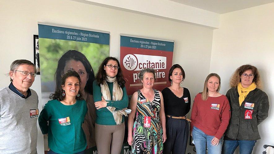 Six des dix candidat(e) s réunis autour de Myriam Martin et Leila Arfoutni.