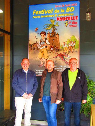 Christophe Francès, VP de Naucelle Actions ; Ch. Couderc coordinateur du Festival et Alain Assié, VP de Naucelle Actions.