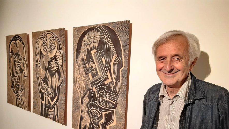 Michel Batlle, ravi d'exposer à Rodez.