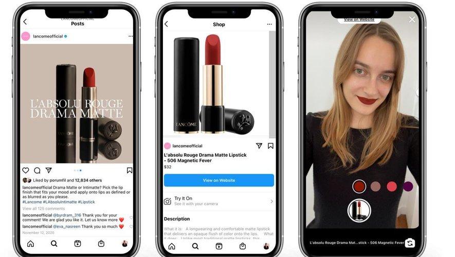 Les acheteurs Instagram peuvent désormais essayer virtuellement les rouges à lèvres Lancôme grâce à ModiFace.