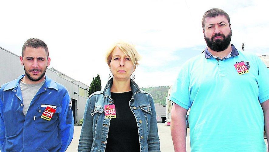 Joris Lasfargues, Ghislaine Gistau et Sébastien Lallier, représentants CGT du personnel de SAM. /