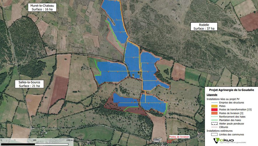 Le projet de parc photovoltaïque le plus important, de 74 hectares, concerne les communes de Salles-la-Source, Rodelle, et Muret-le-Château.