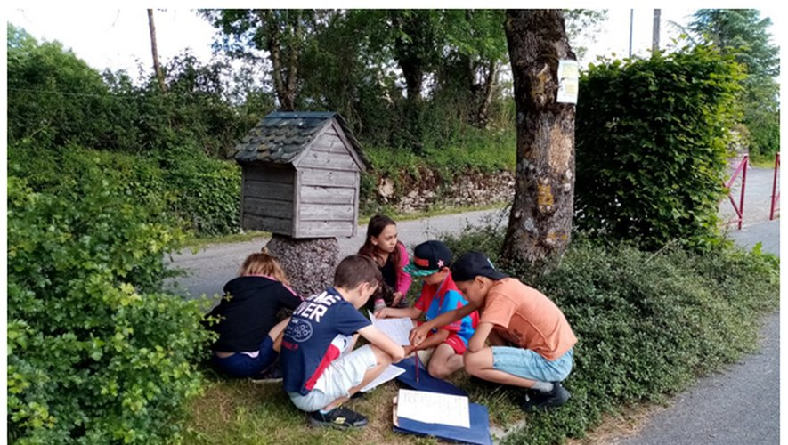 Des enfants, au départ du parcours, lisent et se repèrent sur la carte pour l'orientation à suivre.