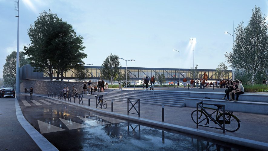 À la fin de la deuxième phase de travaux (prévue à la rentrée 2022), l'entrée au stade se fera par l'esplanade de la salle des fêtes.