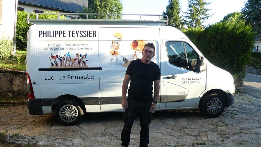 Philippe Teyssier sur un chantier à La Primaube.