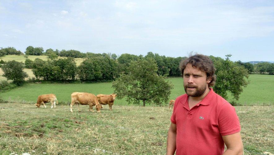 Le jeune éleveur Jean-Charles Mazeyrac installé à Fons près de Figeac est très affecté par la perte brutale de ses bovins.