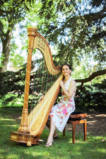 Dimanche après-midi concert de harpe avec Christine Grévin.