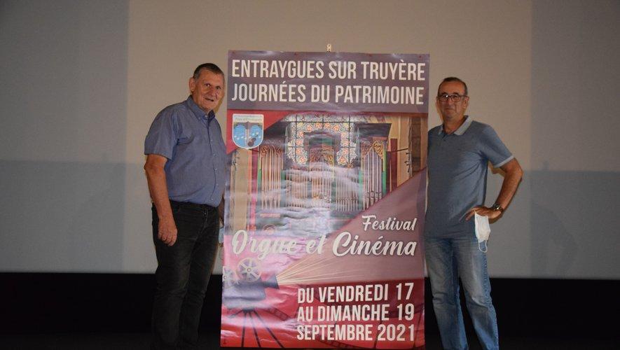 """Edouard Guévart et Jean-Pierre Bergey annoncent le premier festival """"Orgue et Cinéma"""" à Entraygues."""