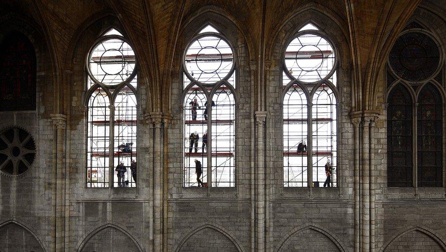 Les travaux de sécurisation et de consolidation de la cathédrale avaient débuté dès le 16 avril 2019, au lendemain de l'incendie.