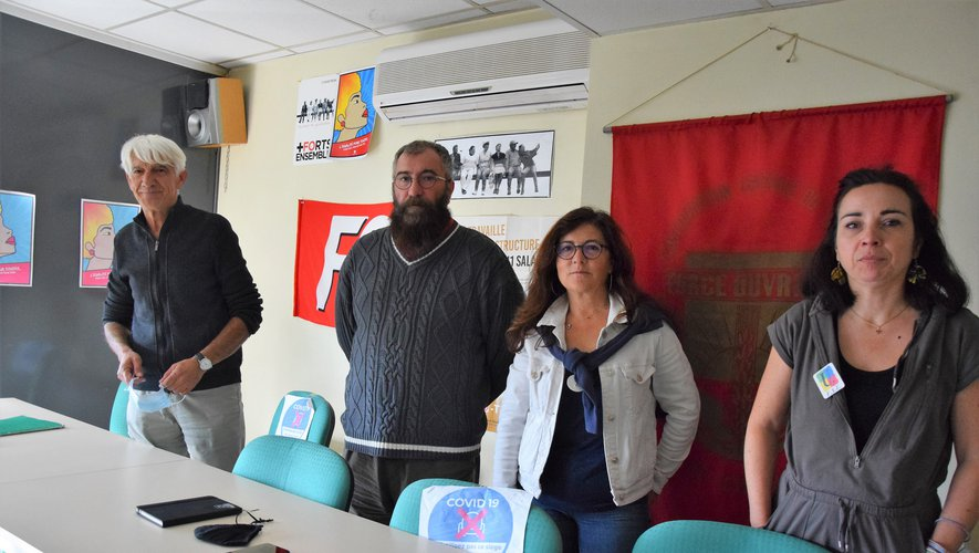 Christian Barbut (Solidaires), Jérôme Nigris (FO), Laurence Cahors (CGT) et Julie Bernat-Sandragne (FSU).