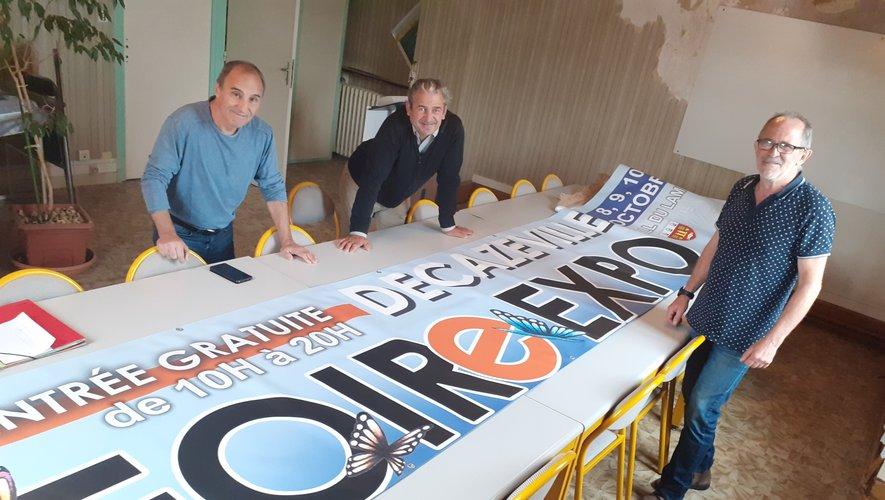 Patrick Innocenti, Pascal Angles et Christian Murat devant la banderole de la Foire Expo.