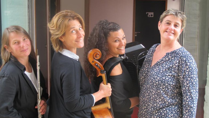 Une formation peu commune avec flûte traversière, accordéon, violoncelle et récitante.
